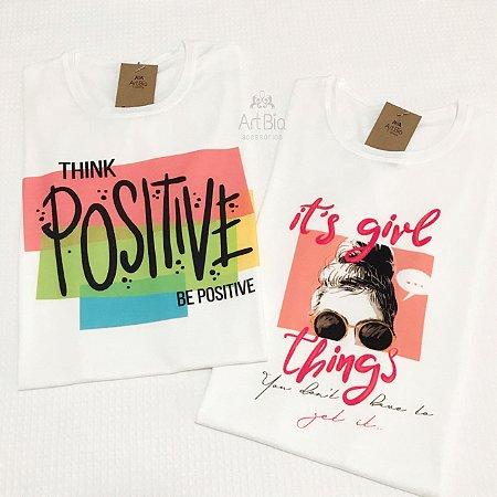 Tshirt Think Positive e It's Girl