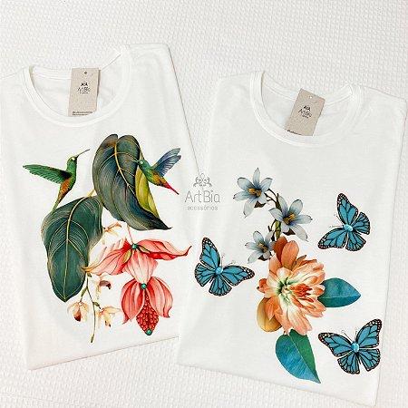Tshirt beija-flor e borboleta