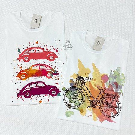Tshirt Fusca e Bicicleta aquarela
