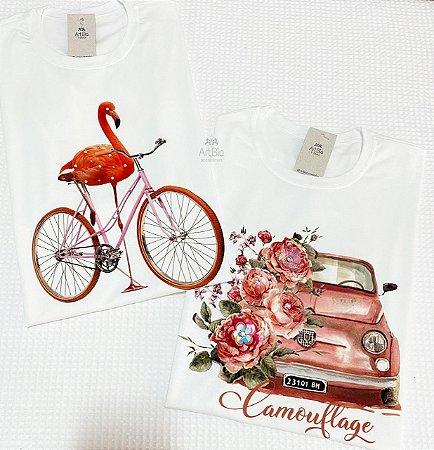 Tshirt Flamingo e Fusca
