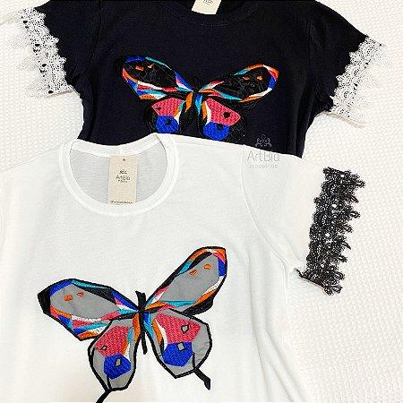 Tshirt borboleta renda