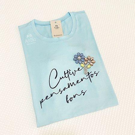 Tshirt Cultive pensamentos bons azul