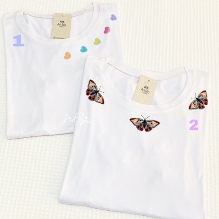 Tshirt corações e borboletas