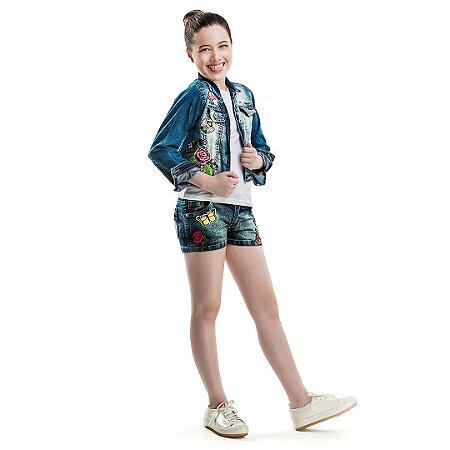 Jaqueta jeans com patches Julia Silva By Anuska