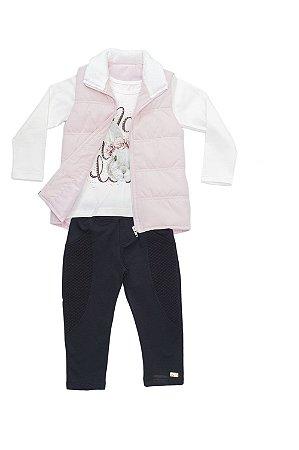 Conjunto Infantil em malha, legging e colete