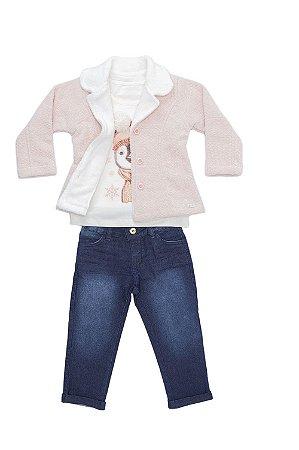 Conjunto infantil em jeans, malha com casaco flanelado