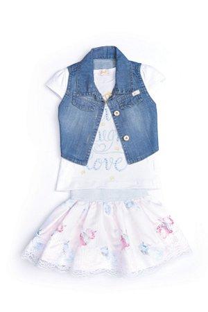 Conjunto Infantil em cetim, malha e jeans