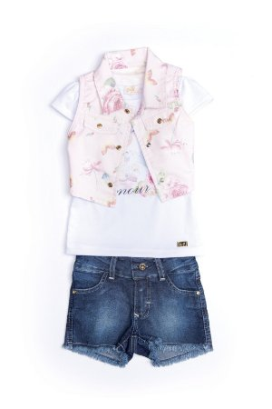 Conjunto infantil em jeans, malha e sarja