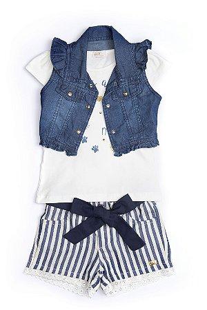 Conjunto Kids navy em jeans, malha e algodão
