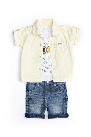 Conjunto Bebê em jeans, malha e sarja