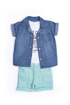 Conjunto Bebê em sarja, malha e jeans