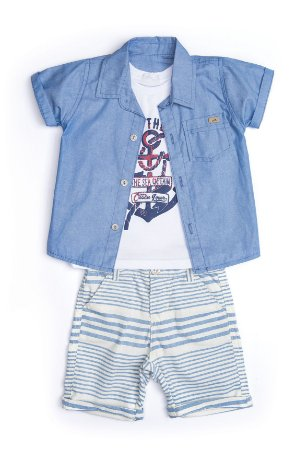 Conjunto infantil menino em jeans, sarja e malha