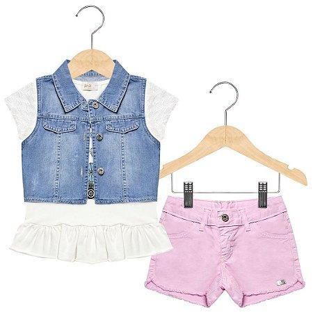 Conjunto Kids em sarja, malha e jeans