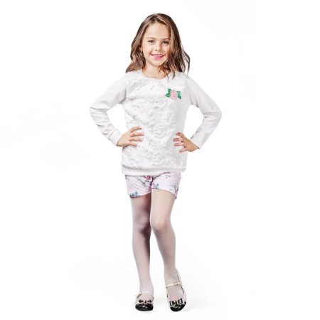 Conjunto Kids com shorts e blusa pele