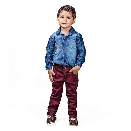 Conjunto infantil em sarja e camisa jeans