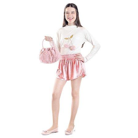 Shorts Veludo Rosé
