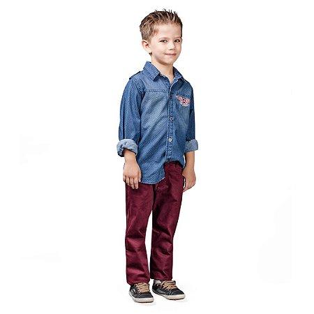 Conjunto kids em sarja e camisa jeans