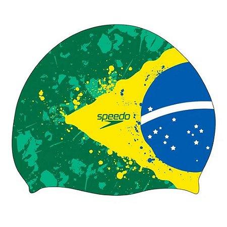 Touca Natação Speedo Flag Brasil Verde