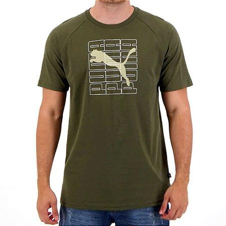 Camiseta Puma Dimensional Graphic Verde Escuro Masculino
