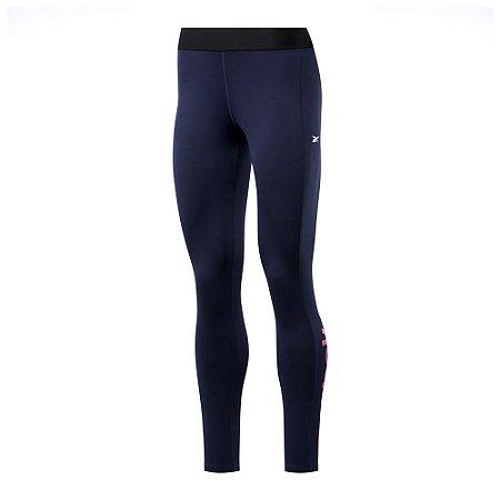 Calça Legging Reebok Te Linear Logo Poly Tight Azul Marinho Feminino