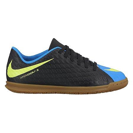 Tênis Salão Nike Hypervenomx Phade III Preto/Azul Infantil