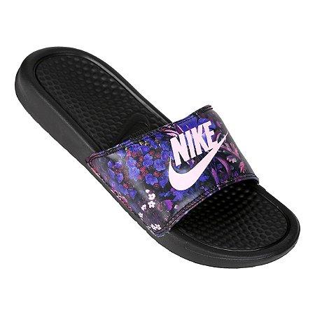 076a24327bf89 Chinelo Nike Slide Benassi JDI Preto/Floral Rosa