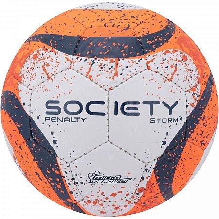 Bola Society Penalty Storm C/C VII Branco/Laranja/Azul