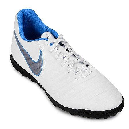 11f61a696a Chuteira Suíço Nike Tiempo Legend 7 Club Branco Prata Azul - 10K Sports