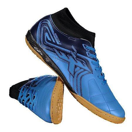 Chuteira Futsal Salão OXN Speed II Neo Azul TQ/MR Infantil