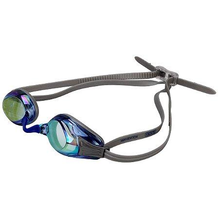 Óculos Natação Speedo Aquashark Cinza Azul Espelhado 6a24aa1ce7