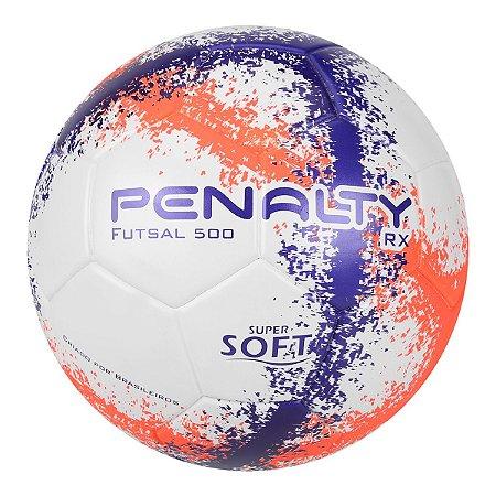 78b8dce34 Bola Futsal Penalty RX 500 R3 Fusion VIII Branco Laranja Roxo