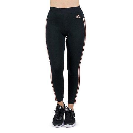 Calça Legging Adidas Ess 3s Preto/Coral