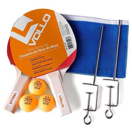 Kit de Tênis de Mesa 2 Raquete + Rede + Bolinha Vollo