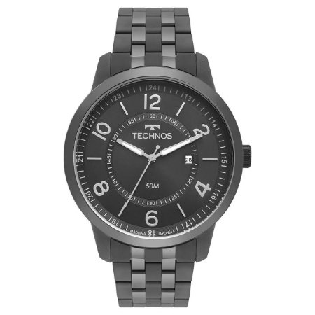 Relógio Technos Masculino Classic Steel Fume 2115MSS4C