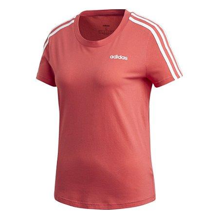 Camiseta Adidas 3s Slim Rosa Feminino