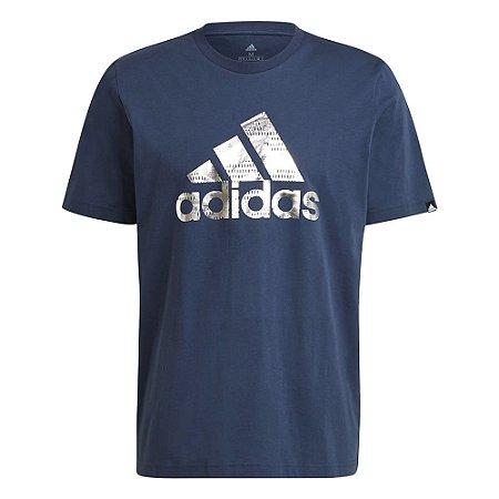 Camiseta Adidas Grafica Ess Logo Azul Masculino