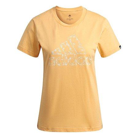 Camiseta Adidas Estampada Floral Laranja Feminino