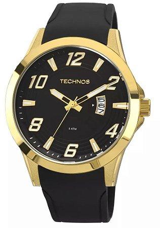 057b2be67b4 Relógio Technos Dourado Pulseira de Couro Preto 2115KQA 8P