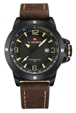 Relógio Naviforce 9077 Pulseira de Couro Marrom