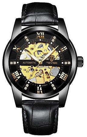 Relógio Tevise T9005A Automático Pulseira de Couro Preto
