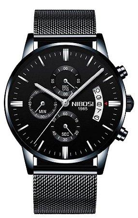 Relógio Nibosi 2309 Preto Pulseira Malha de Aço