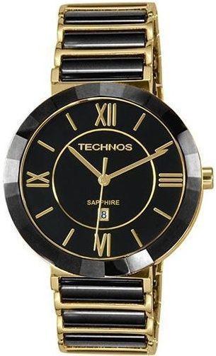 Relógio Technos Cerâmica 2015BV4P Preto e Dourado
