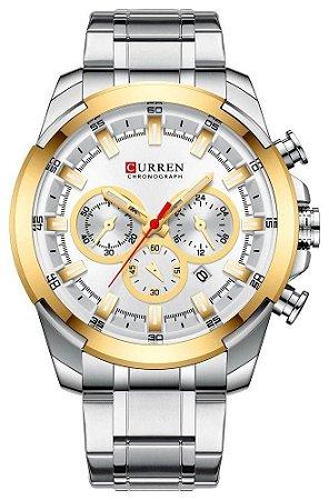 Relógio Curren 8361 Prata e Dourado