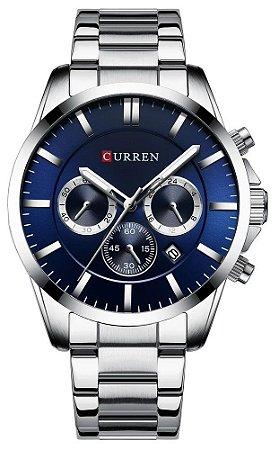 Relógio Curren 8358 Prata e Azul