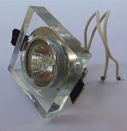 Luminária Spot de embutir Quadrado em vidro cristal 1x35W Modelo YD756A Down Lighting