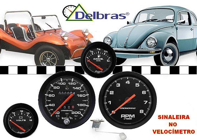 Kit 5 Instrumentos Buggy 100mm/52mm 200Km/h SINALEIRA - Preto/Aro Preto - Cronomac