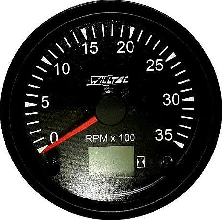 Tacômetro 3500RPM Bivolt 100mm c/ Ajuste e Horímetro Digital | UNIVERSAL|