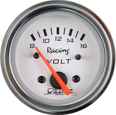 Voltímetro 8-16V C/ Led Branco ø52mm - Fundo Branco Aro Inox