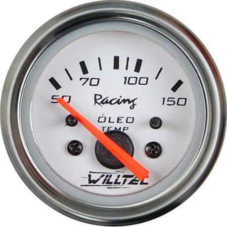 Termômetro do Óleo SEM Sensor 50-150ºC - C/ Led Branco 12V ø52mm - Fundo Branco Aro Inox