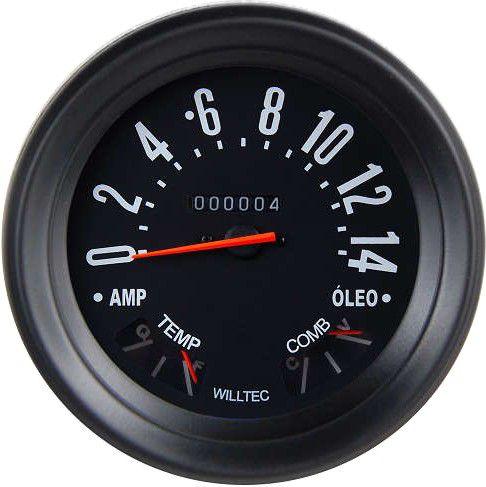 Velocímetro 0-14 C/ Led Branco - ø140mm Willys - W=0.625) - Fundo Preto Aro Preto